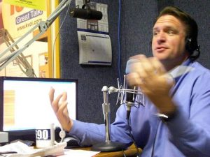 "Patrick McNamara/The Explorer, ""Wake up Tucson"" host Joe Higgins makes his point during a recent broadcast of the AM radio show. Higgins and Chris DeSimone join forces five days a week to talk local politics and business."